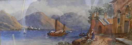 Lake Como, Victorian watercolour. 45 x 15.5 cm.