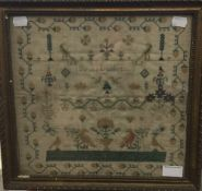 A 19th century sampler by Sarah Lambert,