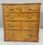 A Victorian burr walnut chest of drawers. 117 cm wide, 120.5 cm high, 53 cm deep.
