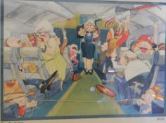 KIRSTEN, The Stewardess, print, framed and glazed. 50 cm wide.
