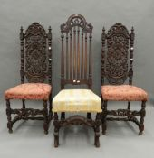 Three 17th/18th century style carved oak chairs