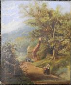 A Victorian oil on canvas, Figures on a Country Path Before a Cottage, unsigned, unframed.