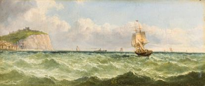 JOHN JAMES WILSON (1818-1875) British, Shipping Off Scarborough, oil on board, signed, framed.