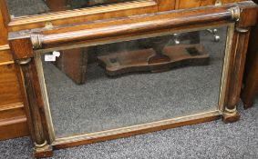 A 19th century overmantle mirror and a triptych mirror. The former 93 cm wide.