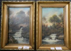 HC HEFFER (late 19th/early 20th century) British, Country Streams, oils on board, a pair, signed,