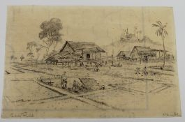 A WWII pencil sketch on paper, Paddy Fields, indistinctly signed, dated 1945, unframed.
