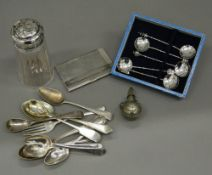 A quantity of various silver, etc. Sifter 12.5 cm high.