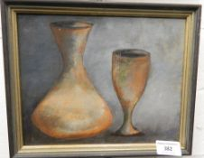 Flagon and Cup, oil on board, framed. 24 x 19 cm.