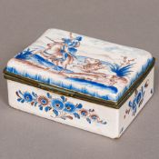 A 19th century Continental painted porcelain box, of hinged rectangular form,