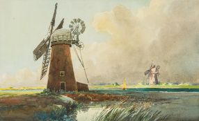 CHARLES A HANNAFORD (1887-1972) British, Norfolk Windmill, watercolour, signed, framed and glazed.