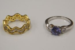 Two silver stone set rings (6.