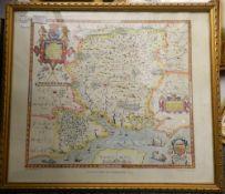 Two coloured print maps, one of Hampshire and the other of Dorsetshyre, both framed and glazed.