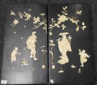 A pair of 19th century Japanese bone inlaid panels. 60.5 cm high.