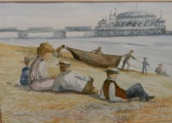 ENGLISH SCHOOL (20th century), Sunbathing at Brighton, watercolour, indistinctly signed,