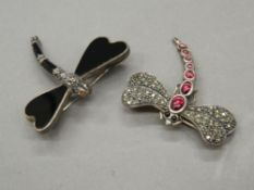 Two silver dragonfly brooches. Each approximately 3.5 cm long (18.