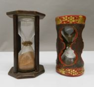 A 19th century treen sand timer, 16.