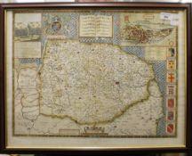 An antique framed map of Norfolk. 54 x 40 cm.