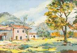 HUTTON (20th century) Continental, Orient, Mallorca, oil on board, signed, inscribed to verso,