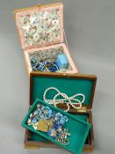 A quantity of costume jewellery and various jewellery boxes