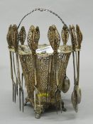 An 800 silver filigree basket set. 21 cm high (14.