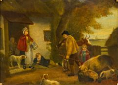 Manner of GEORGE MORLAND (1763-1804) British, Returning Home, oil on canvas, unsigned, framed.