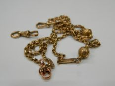 A 9 ct gold watch chain. 60 cm long (11.