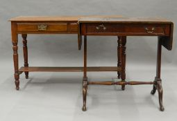 A Victorian side table and a sofa table. Side table 113 cm wide.