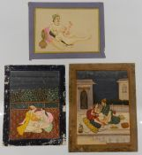 Three Indian erotic painted miniatures. The largest 24 cm high.
