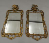 A pair of Georgian style gilt wall glasses. 103 cm high.