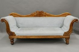 A Victorian mahogany upholstered settee. 200 cm wide.