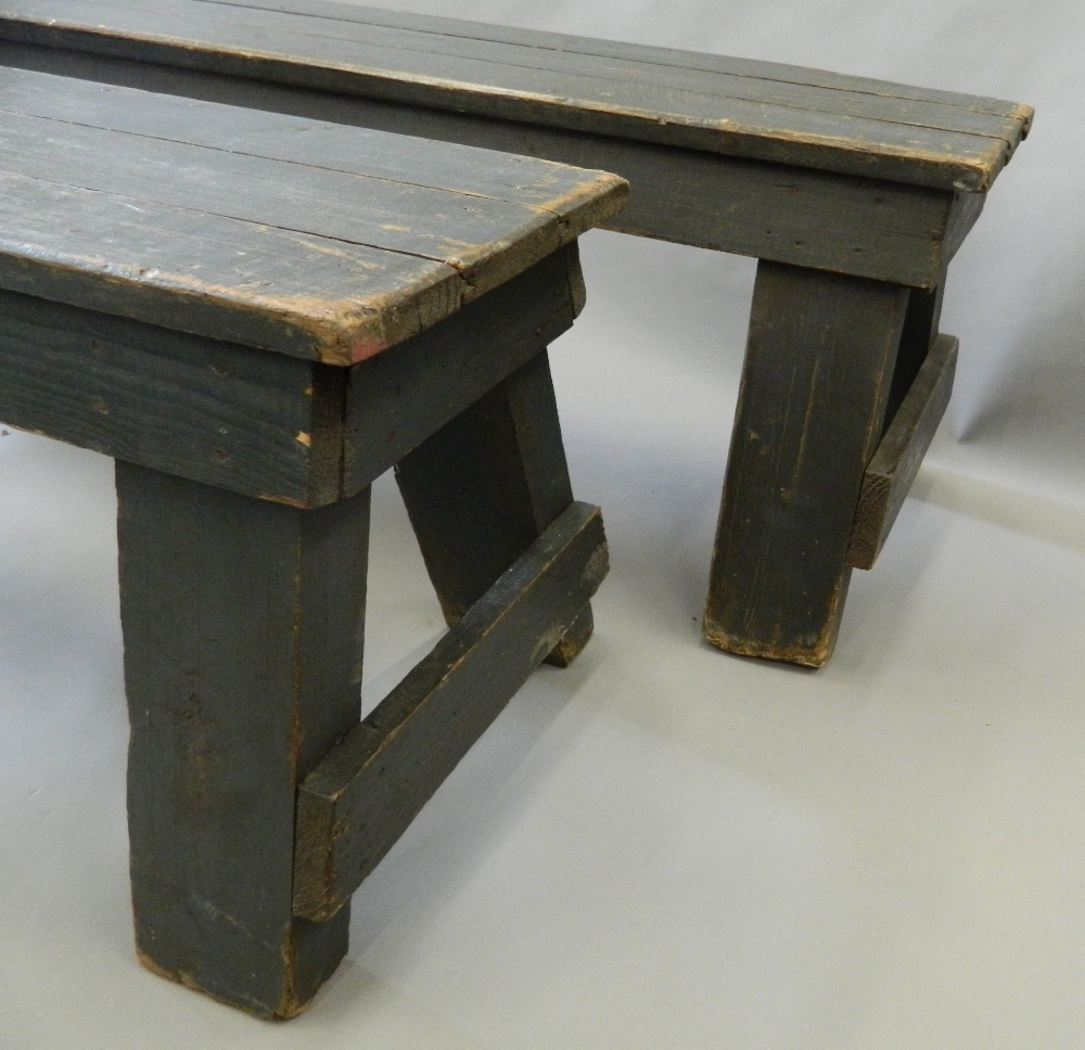 A pair of painted pine benches. 183 cm long. - Image 2 of 3