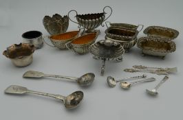 A quantity of various silver salts and spoons. (8.