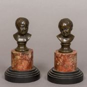 A pair of 19th century French patinated bronze busts, modelled as Jean Qui Rit and Jean Qui Pleure,