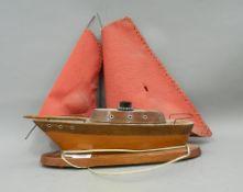 A vintage boat form lamp.