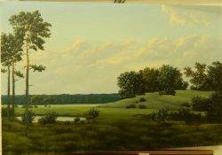 PETRAS BUGAILISKIS, Country Scene, oil on canvas, dated 1976. 76.5 cm wide.