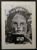 A photographic print, Child and a Domino, indistinctly signed, framed and glazed. 49 cm wide.
