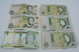 Six £1 notes (three UK and three Jersey)