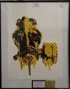 DEATH NYC, Gas Mask, limited edition, framed and glazed. 31.5 cm wide.