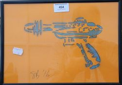 Ray Gun, signed SB and dated '16, framed and glazed. 28.5 cm wide.