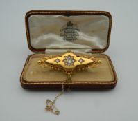 An Antique diamond set 15 ct gold brooch,