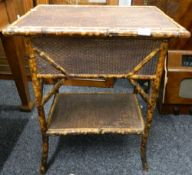 A Victorian bamboo work table. 58 cm wide.