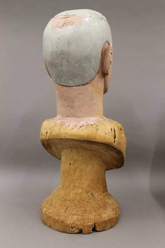 Two Folk Art painted carved wooden busts, one male, the other female. The male 52.5 cm high. - Image 3 of 5