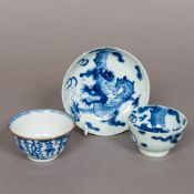 An 18th century Chinese blue and white porcelain tea bowl and saucer,
