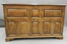 A Georgian oak mule chest. 149 cm wide.