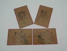 A set of four Indian erotic cards. 9 cm high.