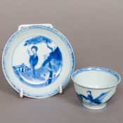 An 18th century Chinese blue and white porcelain tea bowl and matched saucer,