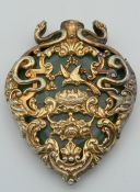 A silver gilt and jade scent bottle. 5.5 cm high.