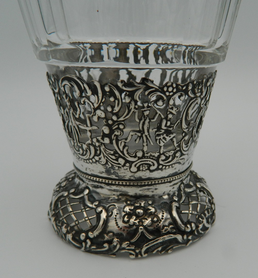 A Continental silver and cut glass decanter and stopper, the silver applied with figures, - Image 3 of 5
