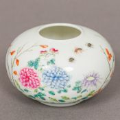 A small Chinese porcelain water pot, of squat form,