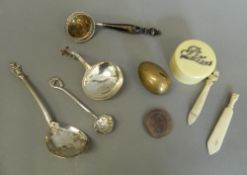 A small quantity of miscellaneous items, including silver sifter, bookmarks, etc.